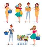 Girl shopping vector character set. Woman shopper happy holding shopping bags stock illustration