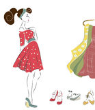 Girl on Shopping. Woman in Retro Style Fashion Dress. Girl on Shopping Royalty Free Stock Image