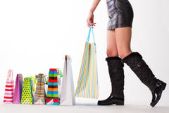 Girl with shopping. Royalty Free Stock Photo