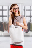 The girl is shopping Royalty Free Stock Photo