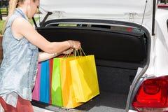 Girl shopping Stock Images