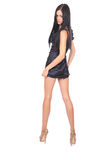 Girl in short dress full-length portrayal Stock Image