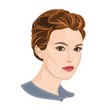 Girl with short hair elegance portraits vector. Illustration without gradients Royalty Free Stock Photos