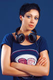 Girl with short hair with headphones Royalty Free Stock Photography