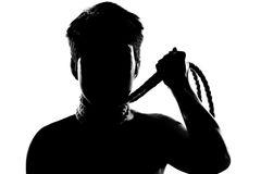 Girl with short hair and rope silhouette Stock Image