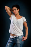Girl with short hair wearing a white t-shirt Stock Photos