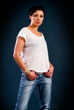 Girl with short hair wearing a white t-shirt Royalty Free Stock Photos