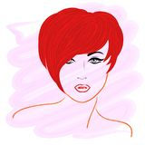 Model with short red hair Royalty Free Stock Photos
