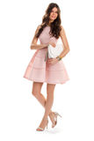 Girl in short salmon dress. Royalty Free Stock Photos
