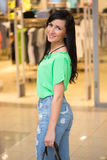 Girl in short shert the mall Royalty Free Stock Photography