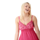 Girl in short summer pink dress Royalty Free Stock Photo
