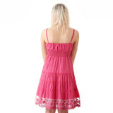 Girl in short summer pink dress Royalty Free Stock Photography