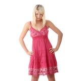Girl in short summer pink dress Royalty Free Stock Photos