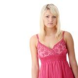 Girl in short summer pink dress Stock Photos