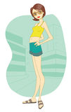 Girl in shorts. Girl with glasses and shorts Vector Illustration