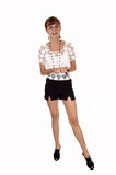Girl in shorts and blouse. Royalty Free Stock Photography