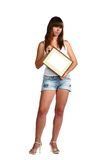 Girl In Shorts with frame Royalty Free Stock Photo