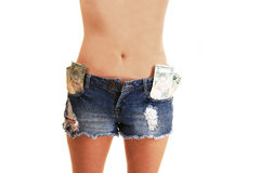 Girl with shorts and money. Stock Image