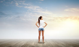 Girl in shorts Royalty Free Stock Image