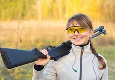 Girl with a shotgun Royalty Free Stock Photos