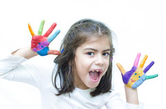 Girl Shouting with Colorful Hands Royalty Free Stock Image
