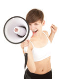 Girl shouting through megaphone Royalty Free Stock Image