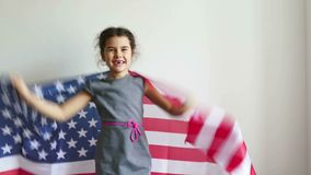 Girl shouting teen holding American flag usa. Girl  shouting teen holding American flag usa stock video