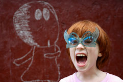 The girl shouts Royalty Free Stock Photography