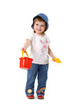 Girl with shovel and bucket Royalty Free Stock Images