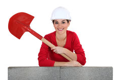 Girl with shovel Royalty Free Stock Image