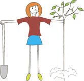The girl with a shovel are planting the tree. Earth day, spring, fall, gardening, protection of nature. The girl with red hair in a maroon t-shirt, blue skirt royalty free illustration