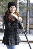 Girl Shoveling Snow Royalty Free Stock Photography