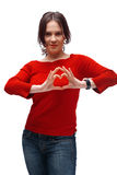 A Girl Shoving Heart Symbol Royalty Free Stock Photos