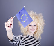 Girl with show European Union flag. Royalty Free Stock Images