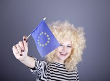 Girl with show European Union flag. Royalty Free Stock Photo