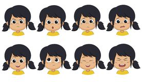 The girl show expression such as angry ,surprised,cry,fear,smile,think. Laugh,shout.vector and illustration vector illustration