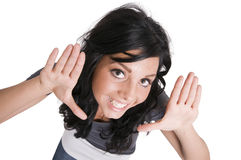Girl show the hand fame on white Royalty Free Stock Photography
