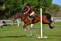 Girl show jumping with pony Stock Photos