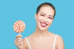 Girl show tongue Royalty Free Stock Photos