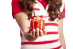 Girl show you present box. Stock Images