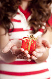 Girl show you present box. Royalty Free Stock Image