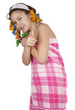 Girl after shower Stock Images