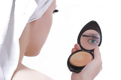 Girl after shower make-up Stock Images