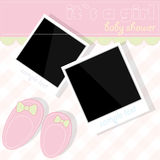 Girl shower with photos and booties Royalty Free Stock Images