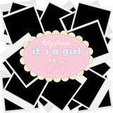 Girl shower with photos and booties Royalty Free Stock Image