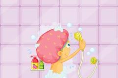 Girl showering. Illustration of a girl showering Stock Photos