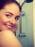 Girl showering in shower cabin Royalty Free Stock Image