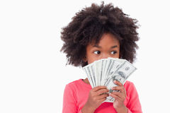 Girl showing bank notes Royalty Free Stock Images
