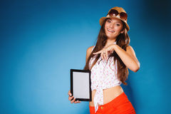 Girl showing blank copy space screen of tablet touchpad Stock Photos