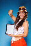 Girl showing blank copy space screen of tablet touchpad Stock Image